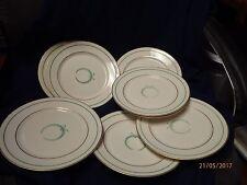 9  Vintage Warwick Cooleys of Boston Green Laurel Wreath Gold Trim Plates