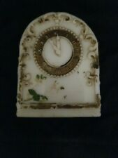 Beautiful Antique 1900's Original Painted Clock Milk Glass Candy Container