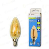 LAMPADINA LED 4W FILAMENTO E14 CANDELA AMBRA COPERTINA BIANC - Calda - 003378