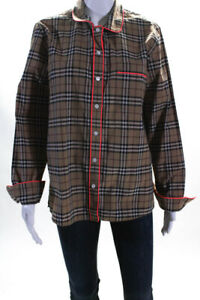 Burberry London Womens Plaid Long Sleeve Button Down Blouse Beige Size 10