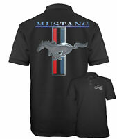 Velocitee Speed Shop Mens Polo Shirt Licensed Ford Mustang Pony Logo A13732