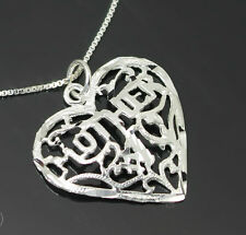 MUM GIFT REAL SOLID 925 STERLING SILVER MOTHER PENDANT 50CM BOX CHAIN NECKLACE