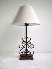 Tischlampe Nachttischlampe Eisen Metall Landhausstil rostfarben Leinenschirm (2)