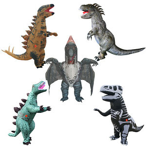 Inflatable Dinosaur Costume T-Rex Halloween Party Suit Adults Kids Cosplay Dress