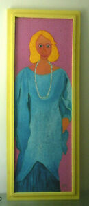 Rare Listed Outsider Folk Art Jack Baron Painting Portrait Canvas Key West FL 86