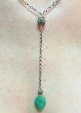 Lariat Pave 1ct Diamond balls 5ct pear Zambian Emerald silver pendant necklace