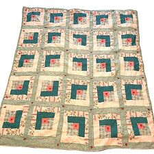 """Vintage Hand Made Baby Quilt Pink & Green 39""""x37"""""""