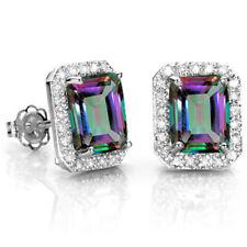 3.00 CARAT MYSTIC GEMSTONE & 1/4 CARAT DIAMOND 10KT SOLID GOLD EARRINGS