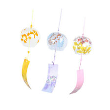 3pcs Japanese Style Wind Chimes Windchimes with Round Glass Bell Set Home