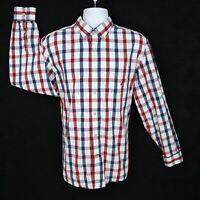 Nautica Shirt Casual Button Up Mens Sz L Red White Blue Plaid Checks Classic Fit