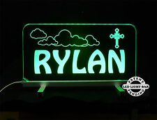 """Personalized LED Night Light 11.375"""" x 6"""", with stand, Kids Room, Handmade"""