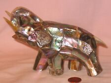 6� Abalone Inlay Elephant With Mother Of Pearl Trunk, Tusks And Tail Figure
