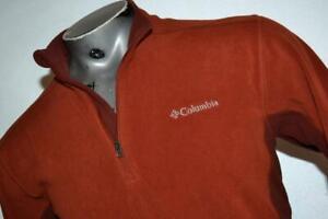 22099-a Mens Columbia Fleece Pullover Shirt Zip Size Medium Orange Polyester