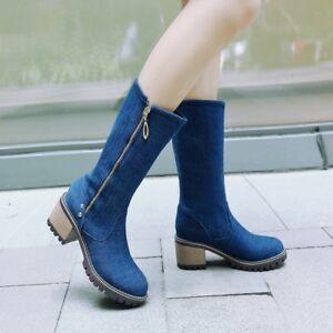 Ladies Women Denim Cowboy Mid Calf Boots Comfort Zipper Block Heels Riding Shoes