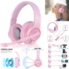Headset Gaming for PC PS4 Mac Xbox One Controller Wired Headphones with Mic Pink