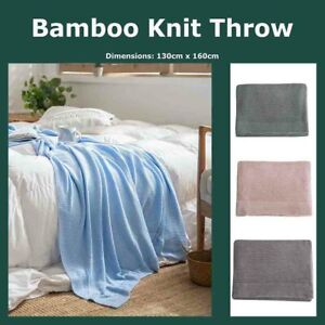 Moss Stitch 100% Bamboo Throw Border Blanket 130*160cm Reversible Home Bed Decor