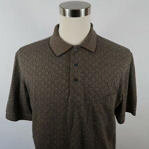John Ashford Golf Mens Polyester Blend Rapi Dry SS Taupe Geometric Polo Shirt L
