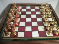 FRANKLIN MINT ~ COCA COLA STAINED GLASS CHESS GAME SET 24K GOLD PLATED