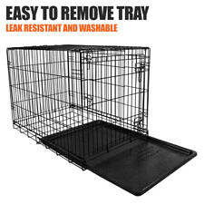 "Double Door Dog Cage W/ Removable Tray 36"" Heavy Duty Crate Pet Training Kennel"