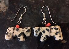 HAND CARVED DALMATION JASPER Stone HORSE FETISH EARRINGS ONLY APPALOOSA