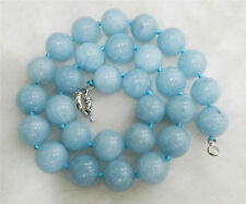 "Gemstone Beads Necklace 18"" Aaa 10Mm Natural Blue Aquamarine Round"