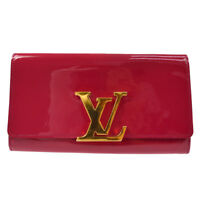 AUTH LOUIS VUITTON VERNIS PORTEFEUILLE LOUISE PINK PATENT LEATHER M61317 F02394