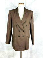 Womens Kasper ASL Brown Double Breasted Blazer Jacket Sz 12