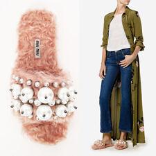 38.5 NEW $950 MIU MIU Pink Embellished FAUX PEARL & SHEARLING FUR Slide SANDALS
