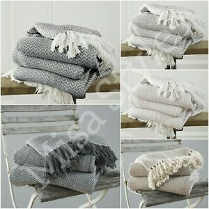 LUXURY 100% COTTON WOVEN HERRINGBONE SOFA CHAIR BED THROW FRINGED COVER BLANKET