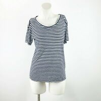 J. Crew Small Womens Blue White Striped Linen Short Sleeve Tee