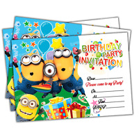 20 x Minions Kids Birthday Party Invitations Invites Girls Boys | FREE DELIVERY