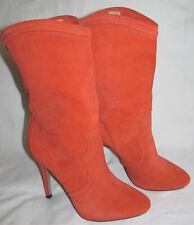 Boutique 9 Harper Tangerine Orange Suede Leather Stiletto Boots Womens Size 10