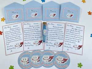 Personalised Blue Tooth Fairy Letters Set, With Fairy Dust, Any Name
