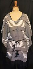 TOMMY BAHAMA ~ Black & White Stripe Geometric Tasselled Cotton Kaftan Top L XL