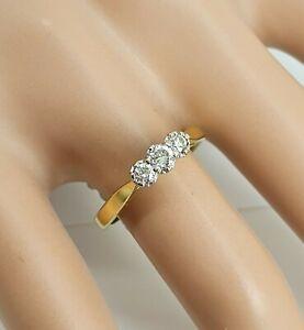 Genuine Deco 18ct Gold & Platinum 3 Stone Diamond Trilogy Ring Size M. NICE1