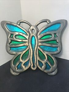 Vintage Counterpoint Cast Iron Butterfly Trivet Stained Glass Inlay Japan