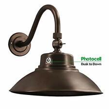 Brown LED Gooseneck Barn Light 14 Inch Classic Steel Shade 42W 4200lm Wall Po...