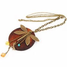 Fashion Lady Charming Wood Dragonfly Pendant Necklace Lovely Style SH