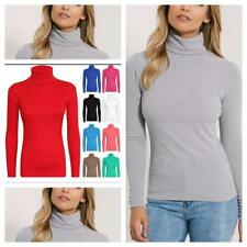 Women Long Sleeve Polo Neck Turtle Neck Top Ladies Stretch High Neck Shirt