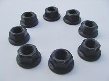 "7/16""-14 Pack 8 Black Oxide Body Mount Locking 5/8"" Flanged Hex Head Frame Nuts"