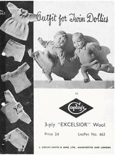 VINTAGE KNITTING PATTERN COPY - TO KNIT  DOLLS CLOTHES 1920's - FOR TWIN DOLLIES