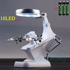 10 LED Helping Hand Magnifying Soldering IRON Stand Lens Magnifier Clamp Tool US