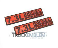 2 BLACK & RED CUSTOM 7.3L DIESEL POWERED F250 F350 POWER STROKE EMBLEMS