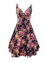 Kushi Black Floral 50s Retro Vintage Wedding Party Tea Dress 10 12 14 16 18 20