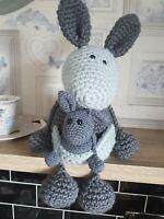 Crochet animal pattern amigurumi cuddly soft toy kangaroo + baby joey