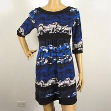 NEW MAX & CLEO 3/4 SLEEVE PRINTED JERSEY DRESS XS
