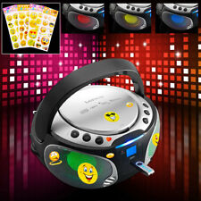 USB Stereo System CD MP3 Player Portable Children's Room Party Smiley Sticker