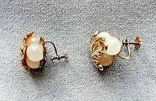 VTG 40s Coro Art Nouveau Rare Mother-of-Pearl Grapes in Brass Leaf Earrings