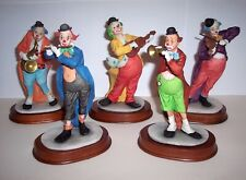 5 Goebel Figuren, Happy Clowns Musikkapelle 1989, Handbemalt, Holzsockel,