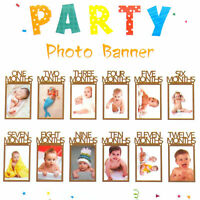 1st Birthday Recording 1-12 Month Photo Banner Garlands Monthly Bunting Decor